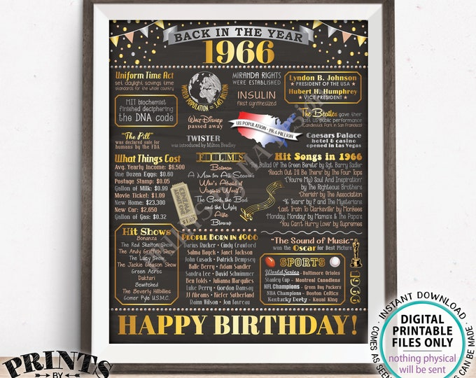 "Back in 1966 Birthday Poster Board, Flashback to 1966 Birthday Decoration, '66 B-day Gift, PRINTABLE 16x20"" Sign, Birthday Decor <ID>"