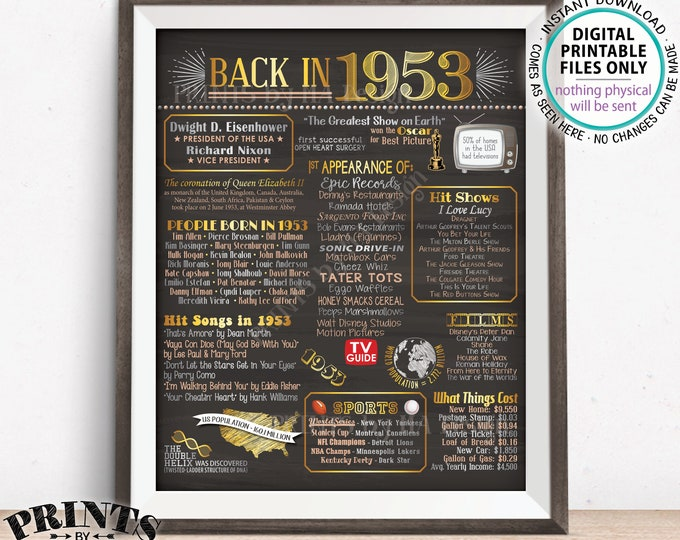 "1953 Flashback Poster, Flashback to 1953 USA History Back in 1953 Birthday 65th Birthday, Gold, PRINTABLE 16x20"" Sign <ID>"