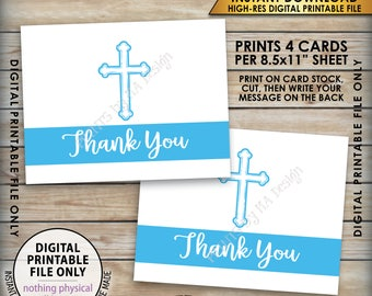 "Religious Thank You Cards, Baptistm Communion Eucharist Confirmation Sacrament, Four 4.25x5.5"" cards on 8.5x11"" Printable Instant Download"
