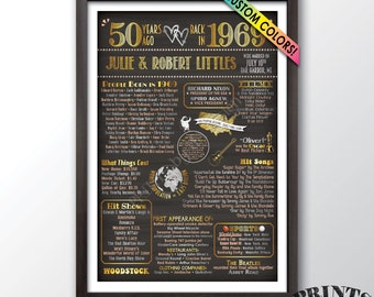 "50th Anniversary Gift Married in 1969 Anniversary, Flashback in 1969, Custom Chalkboard Style PRINTABLE 24x36"" 1969 50th Anniversary Poster"