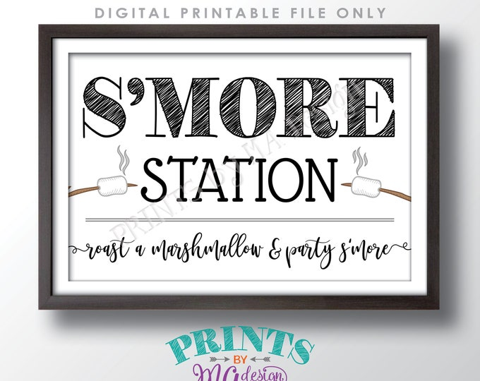 """S'more Station Sign, Roast a Marshmallow and Party S'more, PRINTABLE 24x36"""" Smore Sign <ID>"""