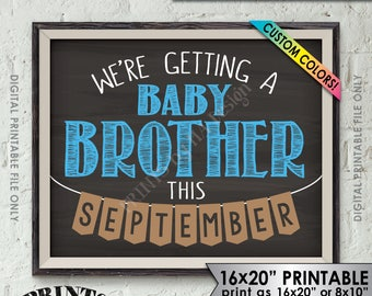 """We're Getting a Baby Brother Pregnancy Announcement, It's a Boy Gender Reveal, Custom Colors, 8x10/16x20"""" Chalkboard Style Printable Sign"""