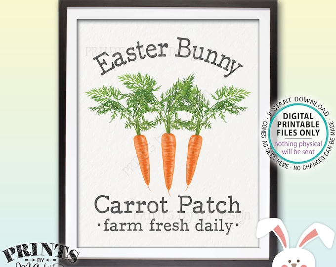 "Easter Bunny Carrot Patch Sign, Carrot Easter Decor, Cute Easter Decoration, PRINTABLE 8x10"" Easter Sign, Carrot Illustration <ID>"