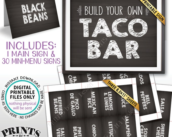Taco Bar Sign and Labels, Build Your Own Taco Station, Nacho Fiesta Taco Buffet Mexican Bar, PRINTABLE Chalkboard Style Sign & Labels <ID>