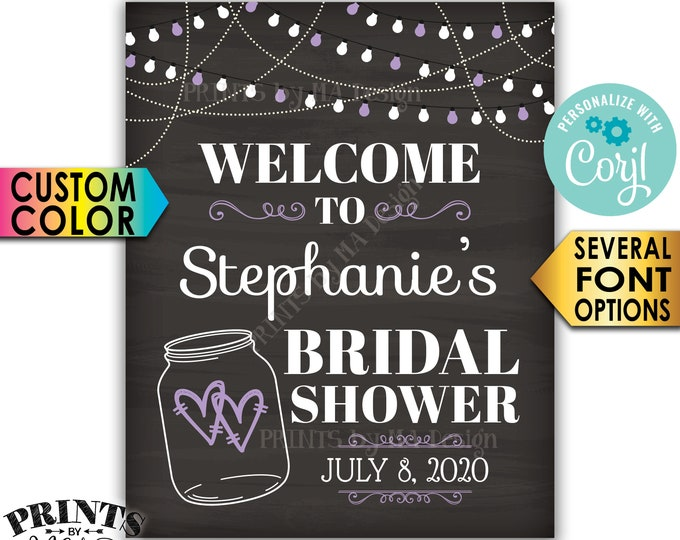 """Bridal Shower Welcome Sign, Lights & Jar Wedding Shower Sign, PRINTABLE 8x10/16x20"""" Chalkboard Style Sign <Edit Yourself with Corjl>"""