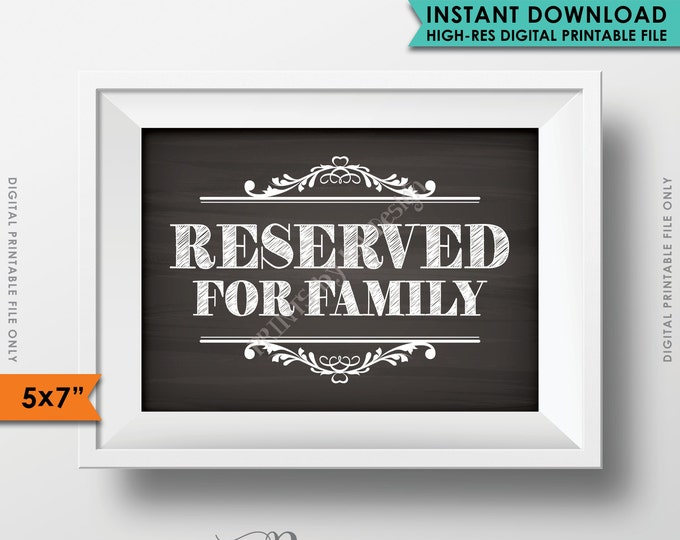 """Reserved Sign, Reserved for Family, Reserved Section, Reserved Area, Family Only, Saved Seating, 5x7"""" Instant Download Printable File"""