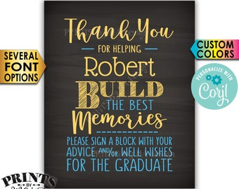 "Sign a Block Graduation Party Decoration, Thanks for Building Memories, PRINTABLE 8x10"" Chalkboard Style Sign <Edit Yourself with Corjl>"
