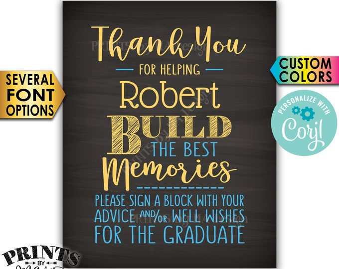 """Sign a Block Graduation Party Decoration, Thanks for Building Memories, PRINTABLE 8x10"""" Chalkboard Style Sign <Edit Yourself with Corjl>"""