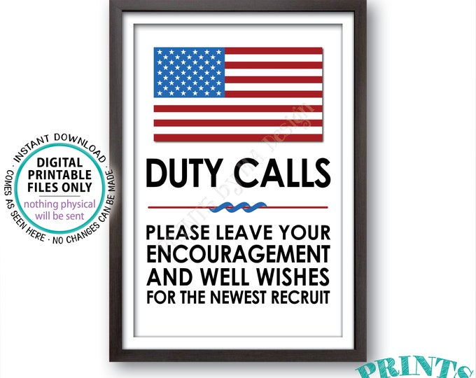 "Military Party Decor, Leave your Encouragement and Well Wishes, US Military Boot Camp, Patriotic, Armed Forces, PRINTABLE 24x36"" Sign <ID>"