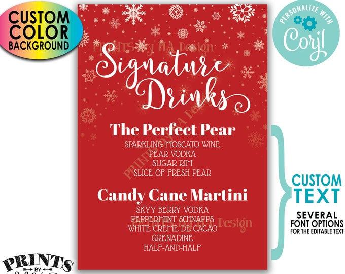 """Signature Drinks Sign, Snowflake Holiday Christmas Party Cocktails, Custom Background Color, PRINTABLE 5x7"""" Bar Sign <Edit Yourself w/Corjl>"""