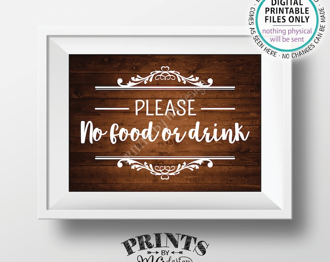 "Please No Food or Drink Sign, No Food Sign, Keep Food Out, Rules for Home Sign, House Rules, PRINTABLE 5x7"" Rustic Wood Style Sign <ID>"