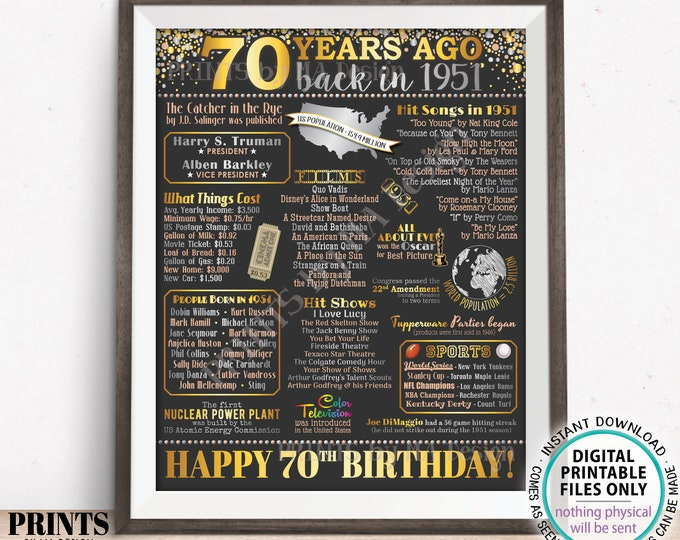 "70th Birthday Poster Board, Back in the Year 1951 Flashback 70 Years Ago B-day Gift, PRINTABLE 16x20"" Born in 1951 Sign <ID>"