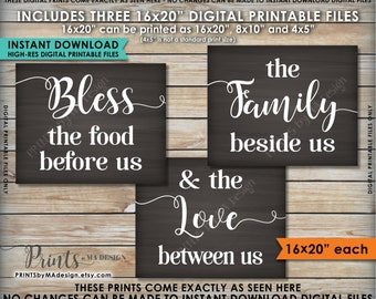 """Bless the Food Before Us The Family Beside Us the Love Between Us Kitchen Wall Decor 16x20"""" Chalkboard Style Instant Download Printables"""