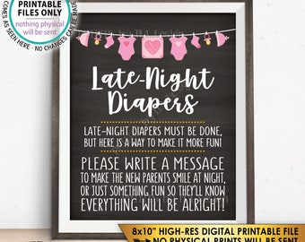 "Late Night Diaper Sign, Late-Night Diapers Sign the Diaper Thoughts, PRINTABLE 8x10"" Chalkboard Style Instant Download Baby Shower Game"