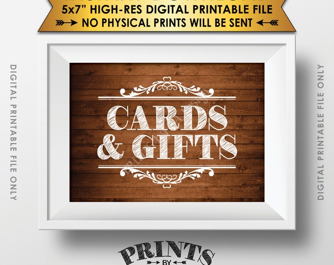 """Cards and Gifts Sign, Gifts Table, Gifts and Cards Wedding Sign, Birthday, Anniversary, 5x7"""" Rustic Wood Style Printable Instant Download"""