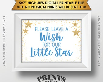 """Well Wishes for Baby Shower Sign, Share a Wish Blue Text Baby Shower Decor Gold Glitter Twinkle Stars, Instant Download 5x7"""" Printable Sign"""