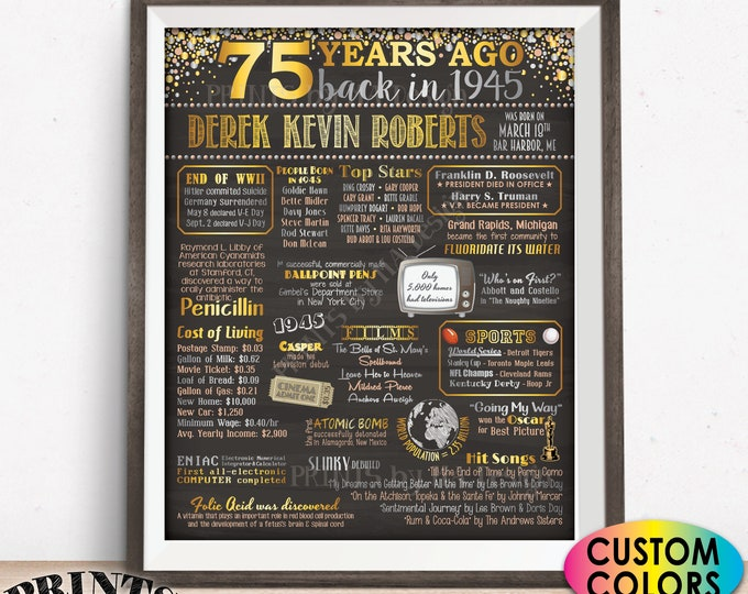 "75th Birthday Poster Board, Back in 1945, Custom PRINTABLE 16x20"" Born in 1945 Sign, Flashback 75 Years Ago to 1945 Sign"