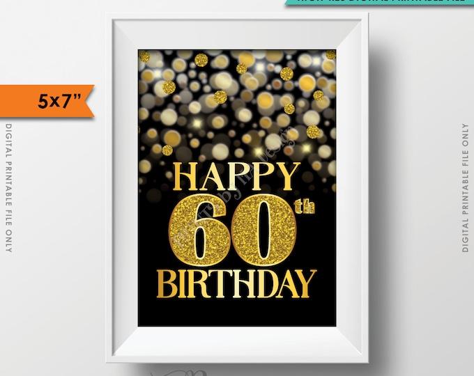"60th Birthday Card Black & Gold Glitter 60th B-day Golden Bokeh, Turning Sixty Birthday Card, Gold Glitter PRINTABLE 5x7"" Digital File <ID>"