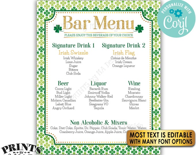 "St. Patrick's Day Bar Menu Sign, St. Paddy's Day Party Shamrocks, PRINTABLE 8x10/16x20"" Drink Menu Sign <Edit Yourself with Corjl>"