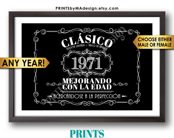 "Spanish Vintage Birthday Sign, Better with Age Decorations, Cumpleaños, Liquor Themed Party, PRINTABLE Black & White 24x36"" Digital File"