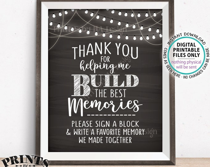 "Sign a Block Sign, Thank You for Helping Me Build Memories, Graduation, Retirement, Jenga,  8x10"" PRINTABLE Chalkboard Style Sign <ID>"