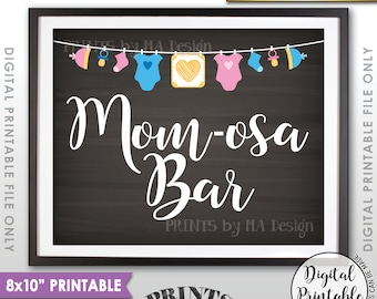 """Mimosa Bar Sign, MOMosa Sign, Make a Mimosa Drink, Mom-osa Sign, Pregatini, Clothesline, Instant Download 8x10"""" Chalkboard Style Printable"""