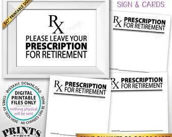 """Please Leave Your Prescription for Retirement RX Doctor Medical Nurse, Funny Retired Bucket List, PRINTABLE 5x7"""" Sign & 3"""" Advice Cards <ID>"""