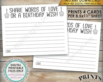 """Birthday Share Words of Love or a Birthday Wish Card, Bday Wish, B-day Party Activity, 4.25x5.5"""" Cards on a PRINTABLE 8.5x11"""" Sheet <ID>"""