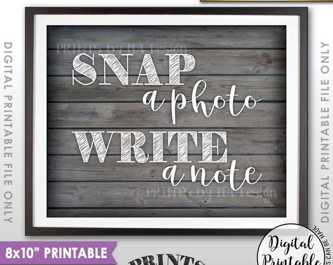 "Snap a Photo and Write a Note Sign, Take a Photo Guestbook, Birthday Graduation, Reunion, 8x10"" Rustic Wood Style Printable Instant Download"