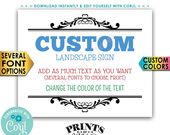"Custom Sign, Choose Your Text & Colors, PRINTABLE 8x10/16x20"" Landscape Sign with a Black Border <Edit Yourself with Corjl>"