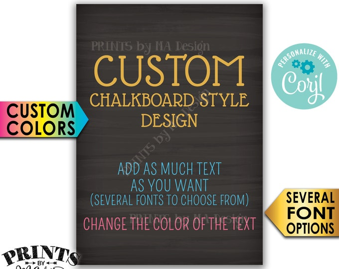 """Custom 5x7 Portrait Sign, Choose Your Text, Change Colors, PRINTABLE 5x7"""" Chalkboard Style Sign <Edit Yourself with Corjl>"""