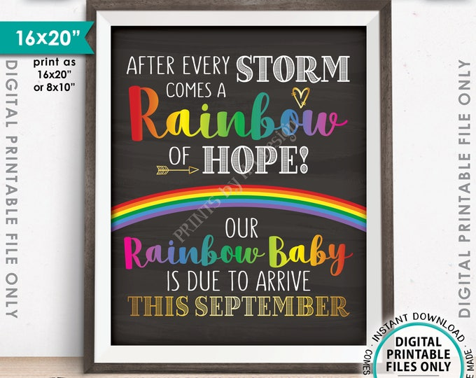 Rainbow Baby Pregnancy Announcement, Pregnancy After Loss, Baby is due in SEPTEMBER Dated Chalkboard Style PRINTABLE Baby Reveal Sign <ID>