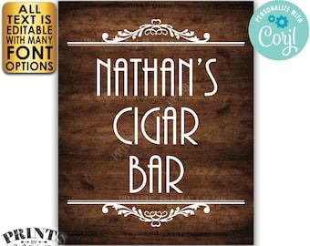 "Cigar Bar Sign, Editable Bar Sign, Custom PRINTABLE 8x10/16x20"" Brown Rustic Wood Style Sign <Edit Yourself with Corjl>"