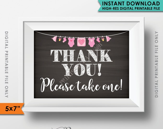 "Thank You Sign, Thank You Please Take One Favors Sign, Baby Shower Decorations Sign, It's a GIRL, 5x7"" Instant Download Digital Printable"