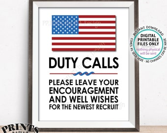 "Military Party Decor, Leave your Encouragement and Well Wishes, US Military Boot Camp, Patriotic, Armed Forces, PRINTABLE 11x14"" Sign <ID>"