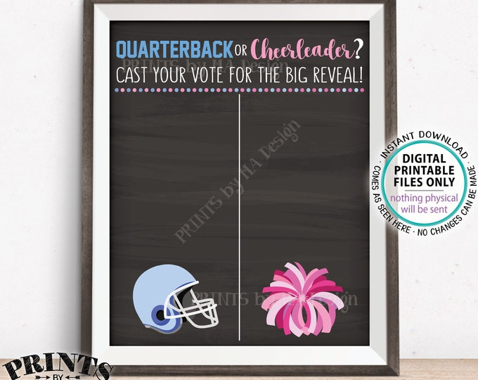 "Gender Reveal Party Voting Sign, Quarterback or Cheerleader Voting Scoreboard, Football, PRINTABLE 8x10/16x20"" Chalkboard Style Sign <ID>"