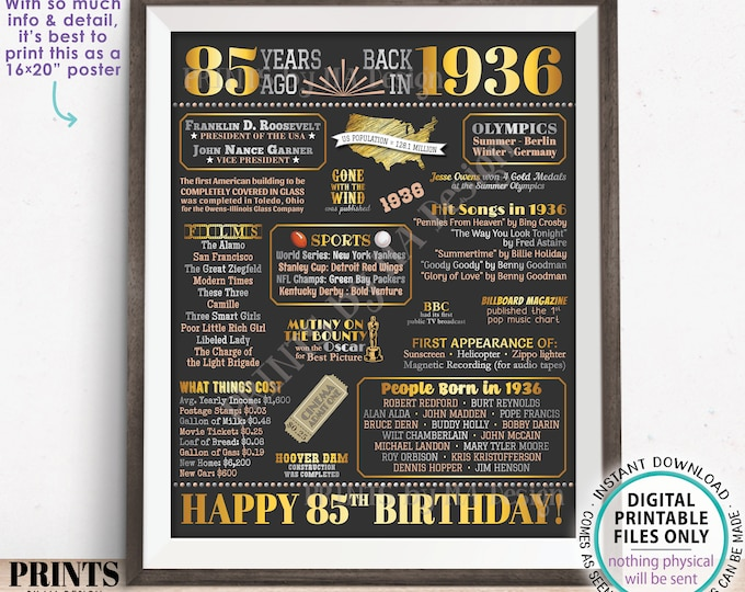 "85th Birthday Poster Board, Born in the Year 1936 Flashback 85 Years Ago B-day Gift, PRINTABLE 16x20"" Back in 1936 Sign <ID>"