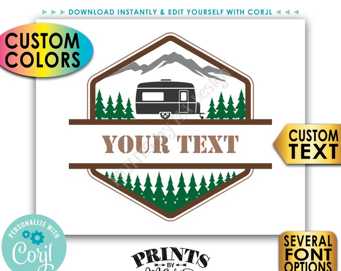 """Custom Camper Sign, Camping Adventure Sign, Choose Your Text & Colors, PRINTABLE 8x10/16x20"""" Landscape Sign <Edit Yourself with Corjl>"""