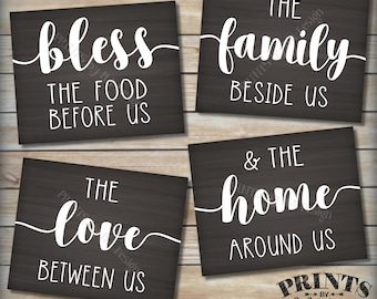 Bless the Food Before Us Family Beside Us Love Between Us Home Around Us, Kitchen Wall Decor, Four PRINTABLE Chalkboard Style Signs <ID>