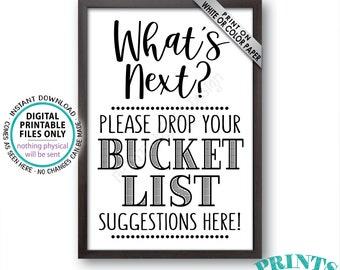 "Bucket List Suggestions Sign, Retirement, Graduation, Bon Voyage, Birthday, Future Plans, Wedding, PRINTABLE 24x36"" Bucket List Sign <ID>"