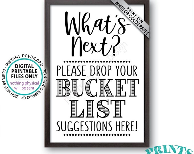 "Bucket List Suggestions Sign, Retirement, Graduation, Bon Voyage, Birthday, Future Plans, Wedding, PRINTABLE 24x36"" Bucket List Sign <ID>"