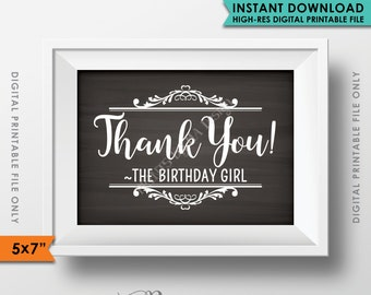 """Thank You Sign, Thank You from the Birthday Girl, Thank Guests, Birthday Party Decor, Chalkboard, 5x7"""" Instant Download Digital Printable"""