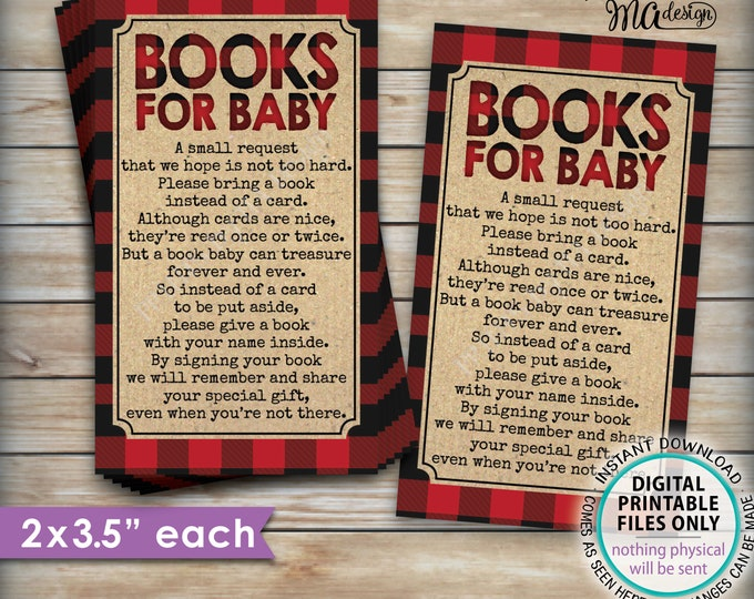 "Lumberjack Books for Baby Insert, Please Bring a Book Instead of a Card, Invite Insert, 12 Cards per 8.5x11"" PRINTABLE File <ID>"