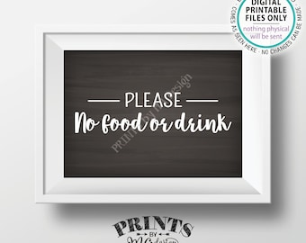 "Please No Food or Drink Sign, No Food Sign, Keep Food Out, Rules for Home Sign, PRINTABLE 5x7"" Chalkboard Style House Rules Sign <ID>"