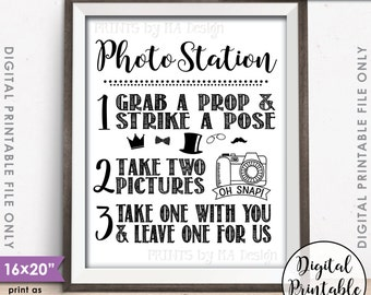 """Photo Station Sign, Take 2 Photos & Leave One For Us Photobooth Wedding Sign, Selfie, Instant Download Digital Printable 8x10/16x20"""" File"""