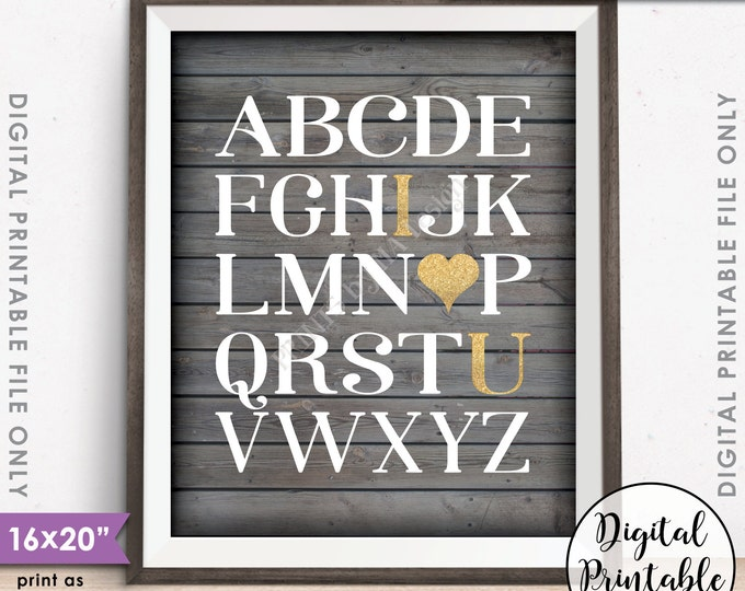 "Alphabet I Love You Wall Art Playroom Art Nursery Decor ABC I Love You Gold Glitter Instant Download 8x10/16x20"" Rustic Wood Style Printable"