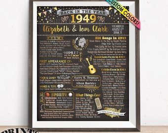 """Back in 1949 Anniversary Poster Board, Flashback to 1949 Anniversary Party Decoration, Gift, Custom PRINTABLE 16x20"""" Sign"""