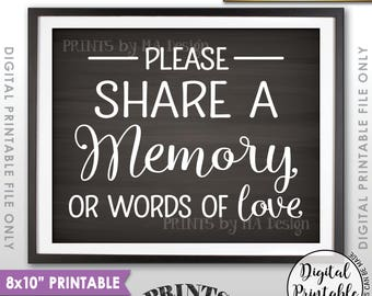 """Share a Memory Sign, Share Memories, Write a Memory, Graduation, Birthday, Anniversary, Chalkboard Style PRINTABLE 8x10"""" Instant Download"""