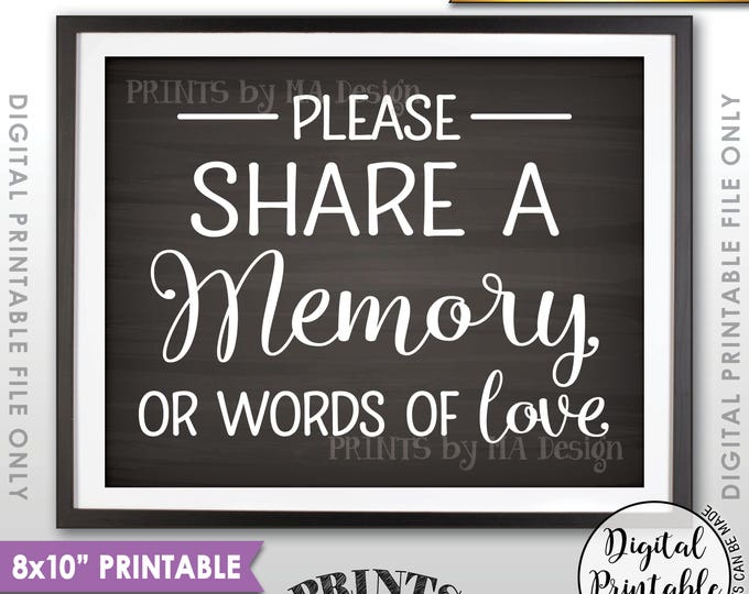 "Share a Memory Sign, Share Memories, Write a Memory, Graduation, Birthday, Anniversary, Chalkboard Style PRINTABLE 8x10"" Instant Download"