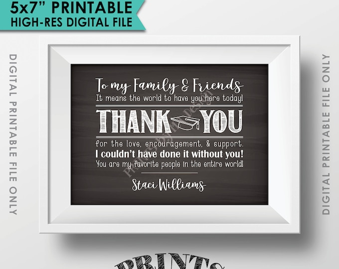 "Thank You Sign, Thank You Card, Graduation Party Decoration, Thanks from the Graduate Poster, PRINTABLE 5x7"" Chalkboard Style Thank You Sign"